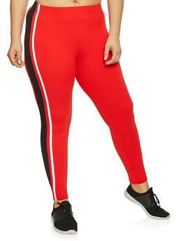 Plus Size Side Stripe Soft Knit Leggings - 1969061633969