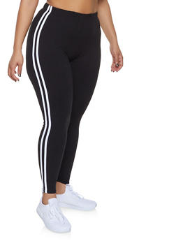 Plus Size Varsity Stripe Leggings - 1969061634918