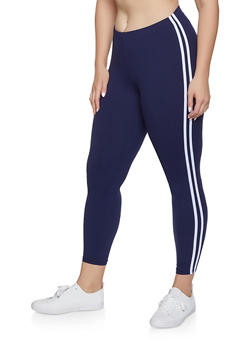Plus Size Varsity Stripe Leggings - 1969061634918