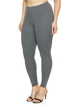 Plus Size Soft Knit Leggings - 1969061636009