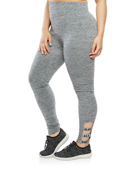 Plus Size Graphic Caged Leggings - 1969061636276