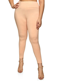 Plus Size Basic Soft Knit Leggings - 1969061636279