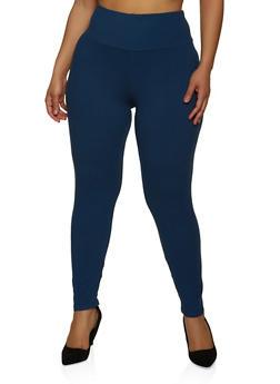 Plus Size Basic Soft Knit Leggings - 1969061636279