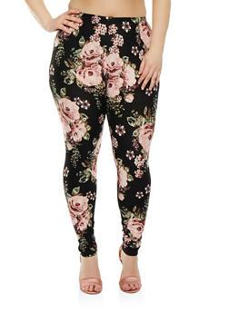 Plus Size Floral Leggings - 1969061636391