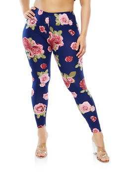 Plus Size Floral Leggings - 1969061636392