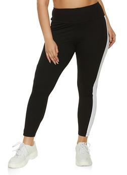 Plus Size Wide Waist Contrast Trim Leggings - 1969061636406