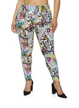 Plus Size Graffiti Newspaper Print Leggings - 1969061636408