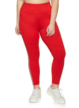 Plus Size Foil Striped Trim Leggings - 1969061636439