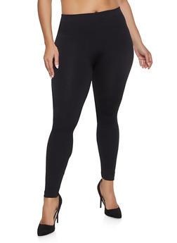Plus Size Solid Leggings - 1969061637079
