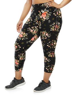 Plus Size Floral Cropped Leggings - 1969061637392