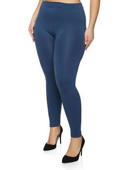 Plus Size Basic Fleece Lined Leggings - 1969061637918