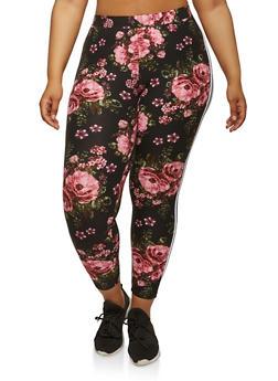 Plus Size Soft Knit Floral Leggings - 1969061638170
