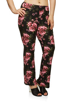 Plus Size Soft Knit Floral Flared Pants - 1969061638172