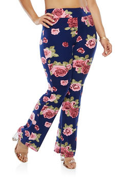 Plus Size Soft Knit Floral Flared Pants - 1969061638172