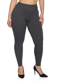 Plus Size Soft Knit Basic Leggings - 1969061638190