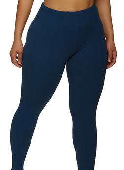 Plus Size Soft Knit Basic Leggings - 1969061638190