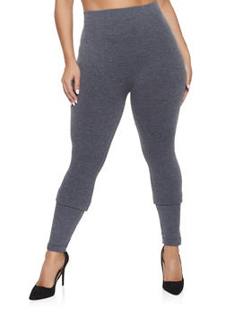 Plus Size Solid Leggings - 1969061638918
