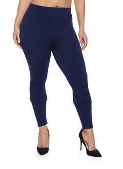 Plus Size Solid Leggings - 1969061638918