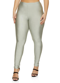 Plus Size Solid Stretch Leggings - 1969062123058