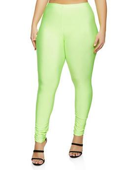 Plus Size Solid Stretch Leggings - 1969062123058