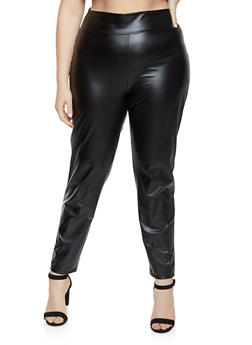Plus Size Pull On Faux Leather Pants - 1969062124010