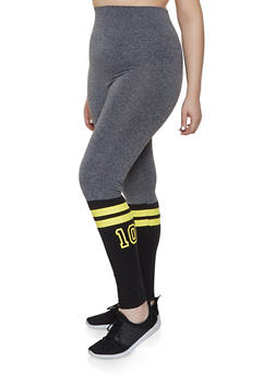 Plus Size Graphic Color Block Leggings - 1969062900032