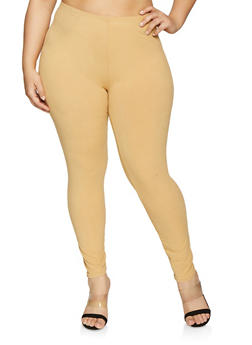 Plus Size Solid Leggings - 1969062900125