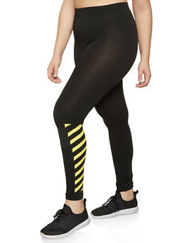 Plus Size Striped Detail Leggings - 1969062900225