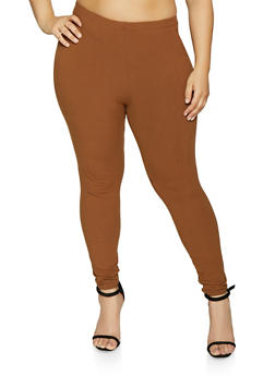 Plus Size Solid Soft Knit Leggings - 1969062900325