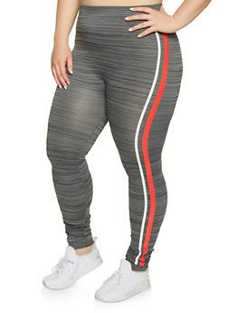 Plus Size Marled Side Stripe Leggings - 1969062901280