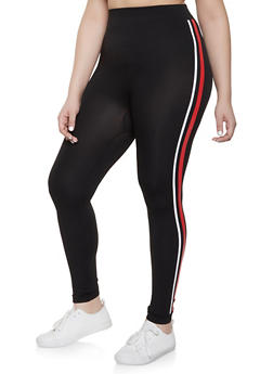Plus Size Side Stripe Leggings | 1969062901320 - 1969062901320
