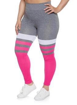 Plus Size Striped Color Block Leggings - 1969062901370