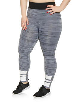 Plus Size Marled Striped Detail Leggings - 1969062901888
