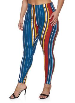 Plus Size Striped Soft Knit Leggings - 1969062901970