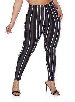 Plus Size Striped Soft Knit Leggings - 1969062902040