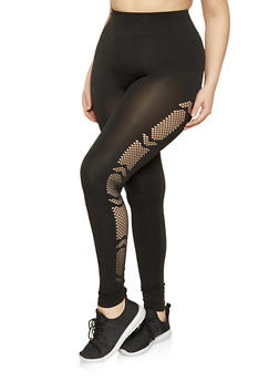 Plus Size Laser Cut Solid Leggings - 1969062902501
