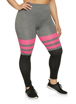 Plus Size Striped Color Block Leggings | 1969062903100 - 1969062903100