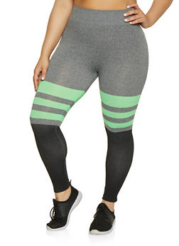 402684f87cfc4e Plus Size Striped Color Block Leggings | 1969062903100 - 1969062903100