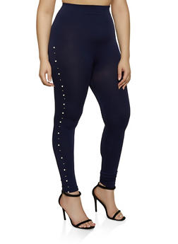 Plus Size Studded Faux Pearl Leggings - 1969062903180