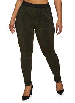 Plus Size Lurex Fleece Lined Leggings - 1969062903593