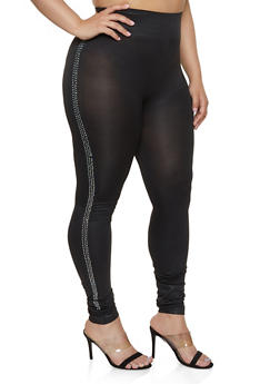 Plus Size Rhinestone Stripe Leggings - 1969062904320