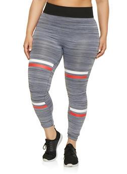 Plus Size Double Stripe Accent Space Dye Leggings - 1969062904440