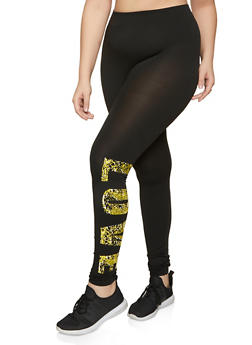 Plus Size Snake Print Love Leggings - 1969062904702