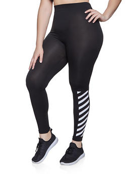 Plus Size Diagonal Striped Detail Leggings - 1969062904825