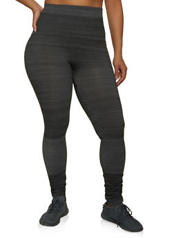 Plus Size Ruched Hem Leggings - 1969062905102