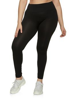 Plus Size Tummy Control Solid Leggings - 1969062905155