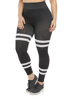 Plus Size Varsity Stripe Leggings - 1969062905208