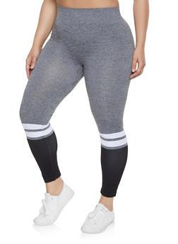 Plus Size Color Block Stripe Detail Leggings - 1969062905270