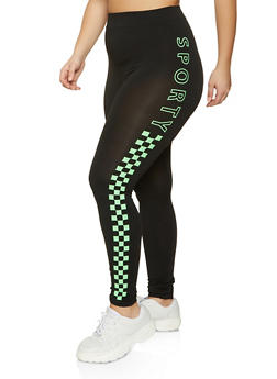 Plus Size Sporty Checkered Side Leggings - 1969062905525