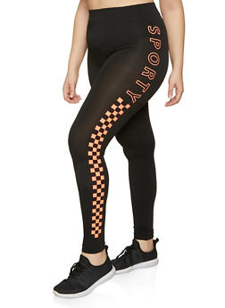 Plus Size Sporty Graphic Detail Leggings - 1969062905535